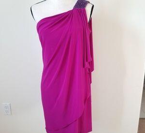 Betsy & Adam Women's One Shoulder Pink Dress